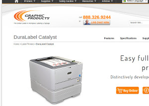 screenshot of graphic products DuraLabel Catalyst printer