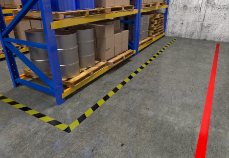 Floor tape used in warehouse