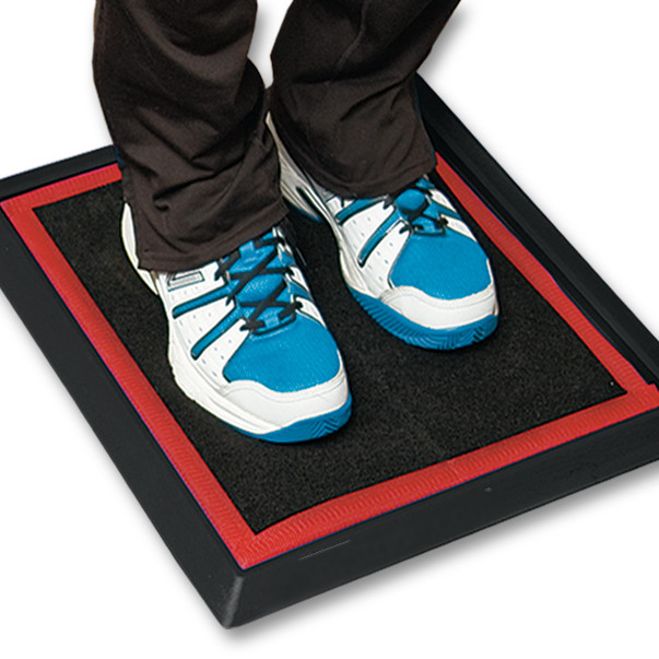 PureTrack Sport Mat and Pad in Red. Disinfecting Shoe Mat System.