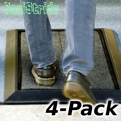 SaniStride Mat and Pad 4-Pack. Foot shoe boot sanitizing