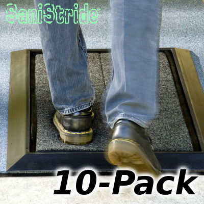SaniStride Mat and Pad 10-Pack. Foot shoe boot sanitizing